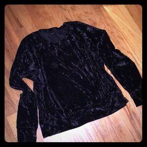 NWOT Black Crushed Velvet Sweatshirt